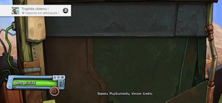 Trophée platine n°152 : Deponia sur PS4